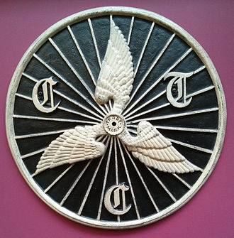 Cyclists' Touring Club sign on display at the National Museum of Scotland Old CTC sign.jpg