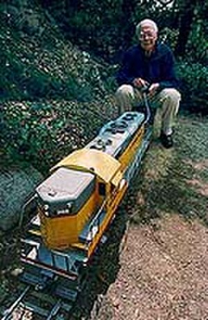 Ollie Johnston - Ollie Johnston on his backyard railroad in 1993.
