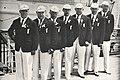 Olympionici po příjezdu do New Yorku na lodi Europa (Hekš, Pšenička, Maudr, Engel, Skobla, Urban a Douda).jpg