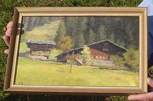 Jakob Ammann - Jakob Amman's house in Tal Erlenbach on an old painting including the barn