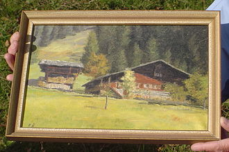 Jakob Ammann - Jakob Amman's house in Tal Erlenbach on an old painting including the barn