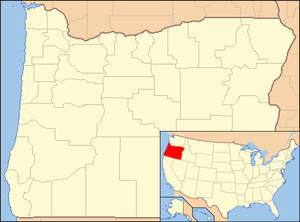 Map showing location of the cave in southwestern Oregon with an inset map showing that Oregon lies along the Pacific Northwest coast of the United States