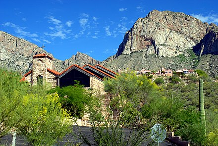 Oro Valley United Church with Pusch Ridge in the background Oro Valley United Church.jpg