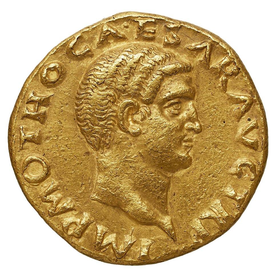 Aureus à l'effigie d'Othon, Département des Monnaies, médailles et antiques de la Bibliothèque nationale de France.