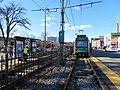 Outbound train at Pleasant Street station, December 2018.JPG