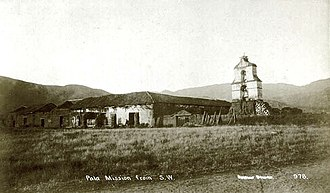 San Antonio de Pala Asistencia - Pala Asistencia, with its original bell tower, circa 1875. The structure is loosely styled after a similar one at the Mission of Nuestra Señora de Guadalupe located in Juárez, Mexico.