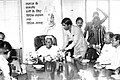 Pandit Ram Kishore Shukla attending an official interface as minister of law in 1987.JPG