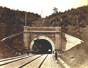 Paneriai - Railroad tunnel in Paneriai - the first in Lithuania. Photo from 1879.
