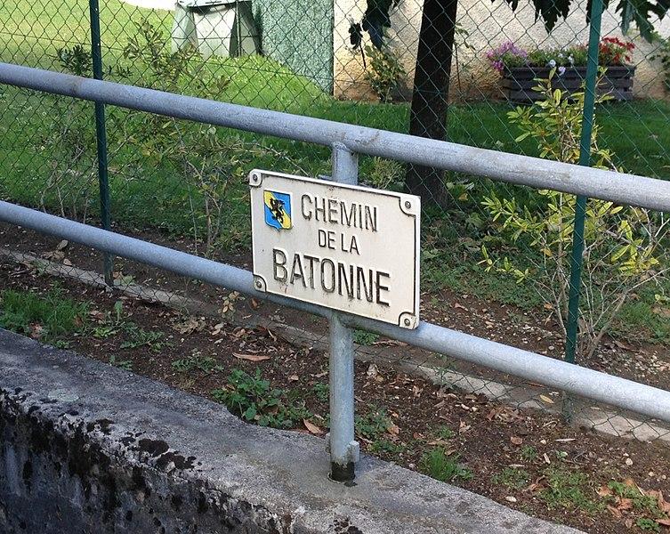 Panneau Chemin de la Batonne à La Boisse.