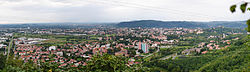 View of Šempeter, with the Italian town of Gorizia in the background