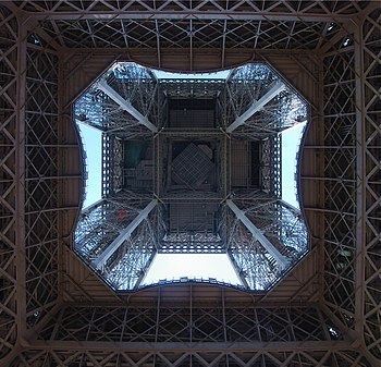 The Eiffel Tower, Paris. View from below.