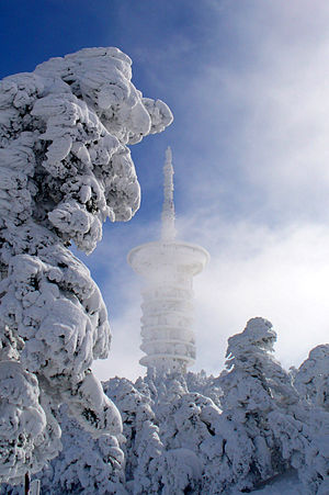 the TV tower in winter snow, Parnitha monuntai...
