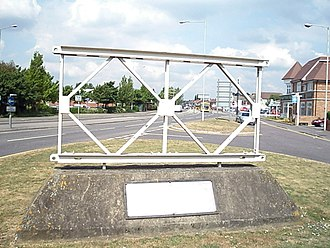 Military Engineering Experimental Establishment - A Bailey bridge section as a commemorative marker opposite the MEXE site in Christchurch
