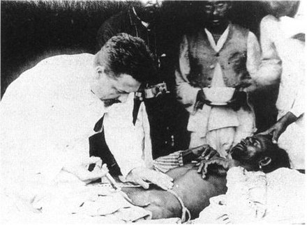 Paul-Louis Simond injecting a plague vaccine in Karachi, 1898 Paul-Louis Simond injecting plague vaccine June 4th 1898 Karachi.jpg