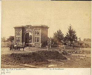 Evergreen Cemetery gatehouse - Image: Pennsylvania, Gettysburg, Gateway of Cemetery NARA 533313