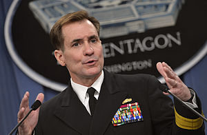 John Kirby (admiral) - Image: Pentagon Press Secretary Navy Rear Adm. John Kirby briefs reporters at the Pentagon, March 27, 2014 140327 D NI589 064