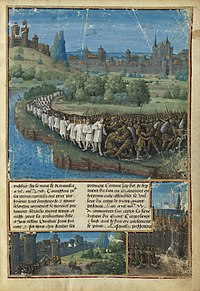 A medieval transcript that depicts the People's Crusade. Lines of peasants and armies are shown in battle against the Seljuq Turks.