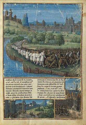 First Crusade - An illustration showing the defeat of the People's Crusade,  from Sébastien Mamerot's  Livre des Passages d'Outre-mer (Jean Colombe, c. 1472–75, BNF Fr. 5594)
