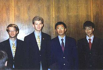 International Mathematical Olympiad - The four perfect scorers in the 2001 IMO. From left to right: Gabriel Carroll, Reid Barton (both USA), Zhiqiang Zhang and Liang Xiao (both China).