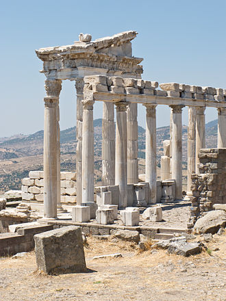 Pergamon - The reconstructed Temple of Trajan at Pergamon