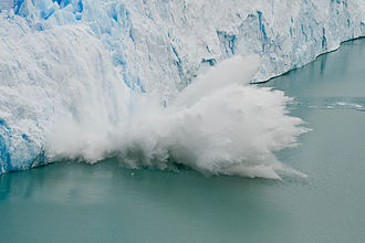Perito Moreno Glacier - Large piece of ice collapses as the glacier advances