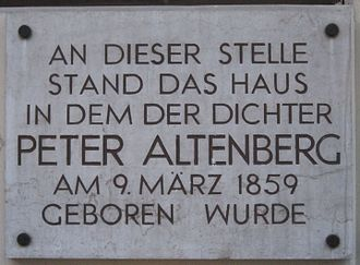 Peter Altenberg - Memorial for Altenberg in Vienna