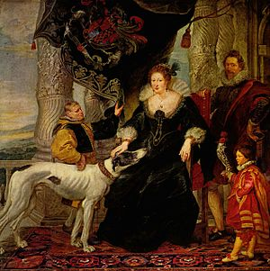 Alethea Howard, Countess of Arundel - Peter Paul Rubens, Alethea Talbot with attendants and Sir Dudley Carleton, c. 1620. Alte Pinakothek