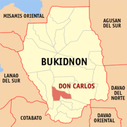 Map of Philippines with Don Carlos highlighted