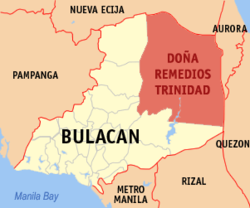 Map of Bulacan showing the location of Doña Remedios Trinidad