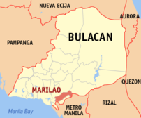 Map of Bulacan showing the location of Marilao.