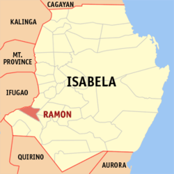 Map of Isabela showing the location of Ramon