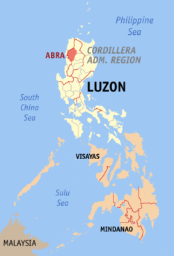 Map of the Philippines with Abra highlighted