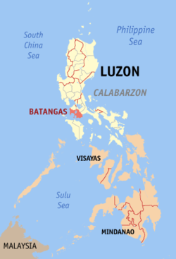 Map of the Philippines with Batangas highlighted