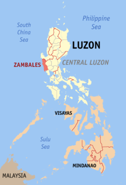 Map of the Philippines with Zambales highlighted