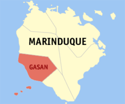 Map of Marinduque showing the location of Gasan