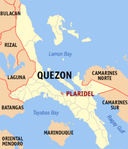Map of Quezon showing the location of Plaridel