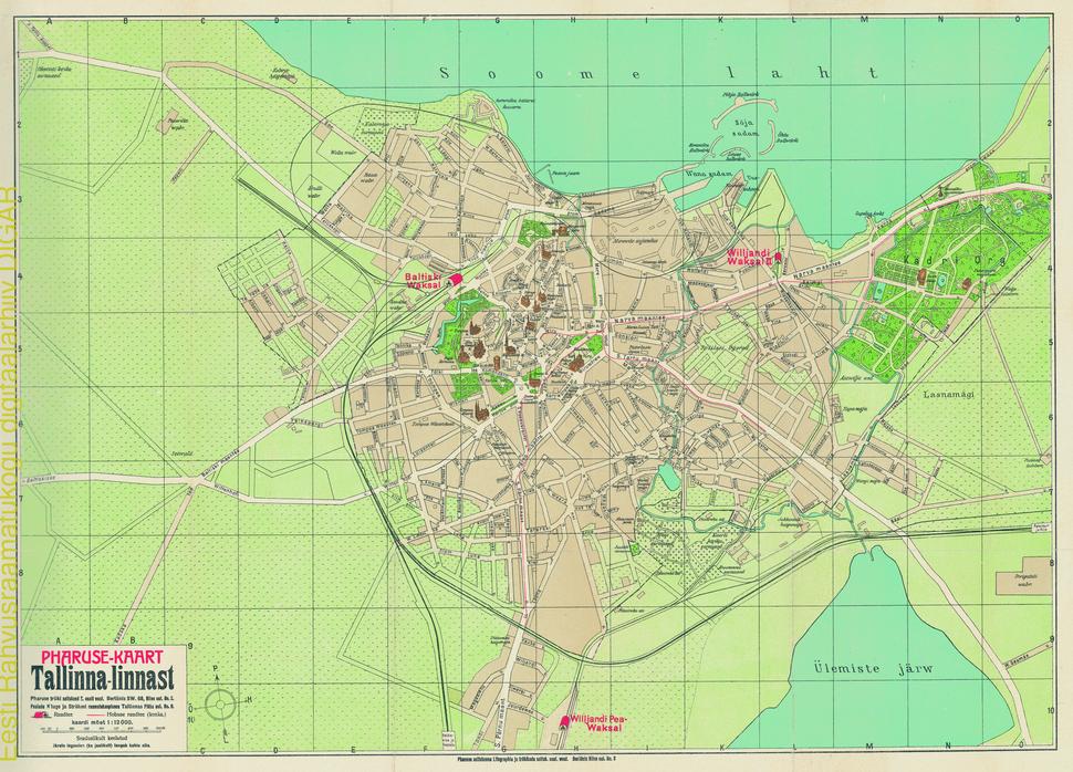 Pharuse kaart Tallinna linnast, 1910