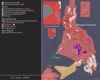 Map of the Philippines during the inauguration of the First Philippine Republic. PhilippineRevolutionMapDuringTheInaugurationOfTheMalolosConstitution.png