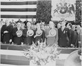Photograph of President Truman and President Gabriel Gonzalez Videla of Chile standing at attention with other... - NARA - 200206.tif