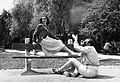 Photography, woman, man, bench, summer, portrait Fortepan 76386.jpg