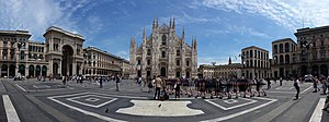 Piazza del Duomo, Milan - A panoramic photo of the Piazza del Duomo in 2016.