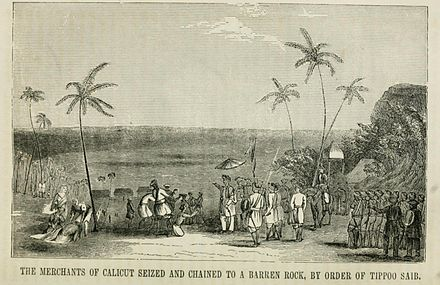The merchants of Calicut seized and chained to a barren rock, by the order of Tippoo Sahib Pictorialhistoci00sear 0503.jpg
