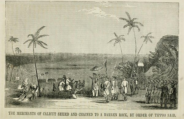 The merchants of Calicut seized and chained to abrren rock, by the order of Tippoo Sahib - Tipu Sultan