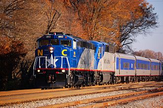 Piedmont (train) - A state-owned EMD F59PH and EMD F59PHI lead the Piedmont into High Point on an autumn day in 2012.