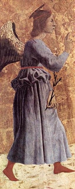 Piero della Francesca,Polittico della Misericordia,1444-1465, particolare dell'Angelo annunciante, Museo Civico, Sansepolcro