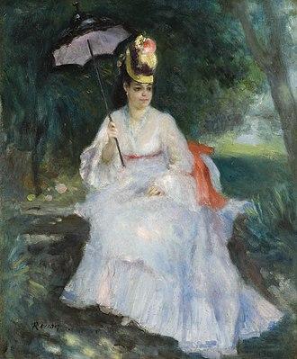 Lise (Renoir) - Femme à l'ombrelle assise dans le jardin (1872)