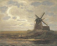 Piet Mondriaan - Oostzijdse mill with panoramic sunset, mill at right - A417 - Piet Mondrian, catalogue raisonné.jpg