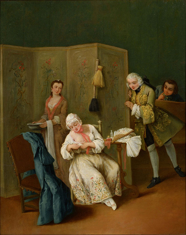 The Indiscreet Gentleman, Pietro Longhi. Example of voyeurism