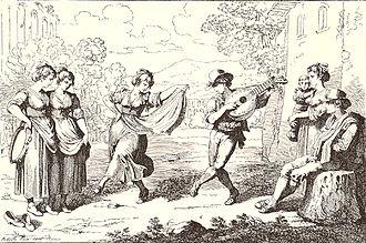 Saltarello - Saltarello. Illustration by Bartolomeo Pinelli.