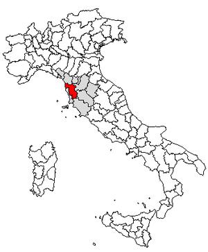 Larderello - Location of the province of Pisa
